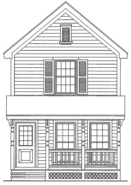 House Plan 95707 | Style House Plan with 1050 Sq Ft, 3 Bed, 1 Bath Elevation