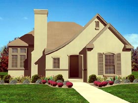 House Plan 95710 | European Style Plan with 1621 Sq Ft, 3 Bedrooms, 2 Bathrooms, 2 Car Garage Elevation