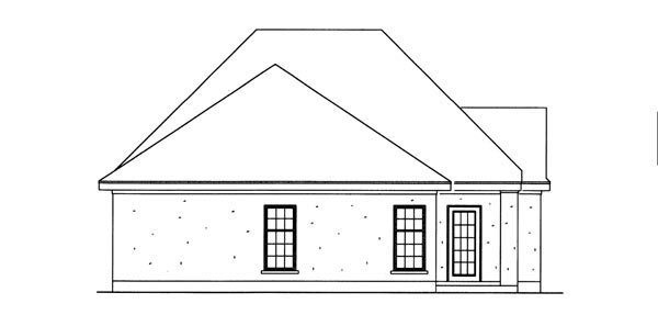 House Plan 95710 | European Style Plan with 1621 Sq Ft, 3 Bedrooms, 2 Bathrooms, 2 Car Garage Rear Elevation