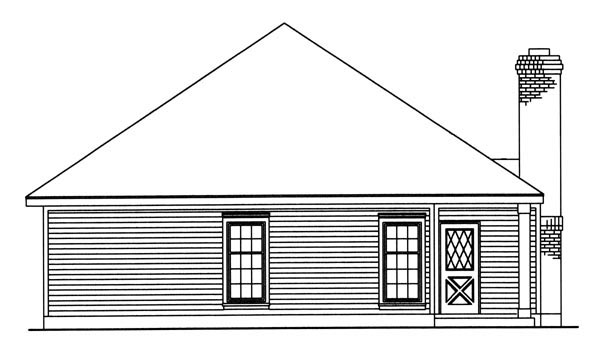 Country Southern Rear Elevation of Plan 95711