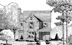 House Plan 95717 | European Style Plan with 1758 Sq Ft, 3 Bedrooms, 3 Bathrooms Elevation