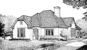 House Plan 95719 | European Style Plan with 1649 Sq Ft, 2 Bedrooms, 2 Bathrooms, 2 Car Garage Elevation