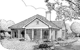 Colonial , Country , Southern House Plan 95720 with 2 Beds, 2 Baths, 2 Car Garage Elevation