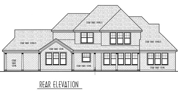 Country European Rear Elevation of Plan 95734