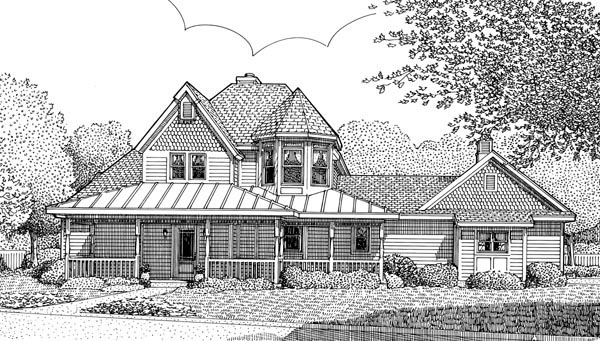 Country, Victorian House Plan 95736 with 3 Beds , 3 Baths , 2 Car Garage Elevation