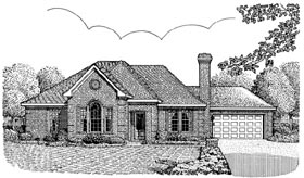 House Plan 95739 | European Style Plan with 1711 Sq Ft, 3 Bedrooms, 2 Bathrooms, 2 Car Garage Elevation