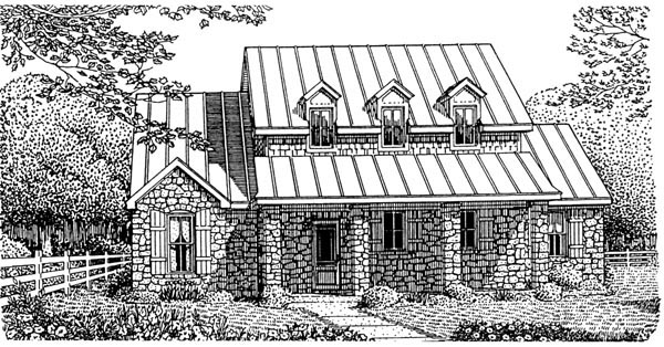 European House Plan 95741 with 3 Beds , 4 Baths , 2 Car Garage Elevation