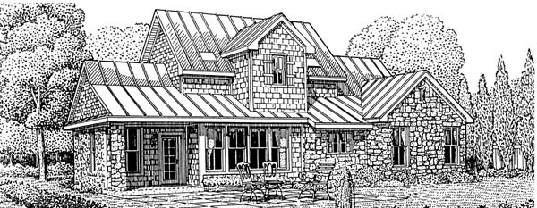 European House Plan 95741 with 3 Beds , 4 Baths , 2 Car Garage Rear Elevation