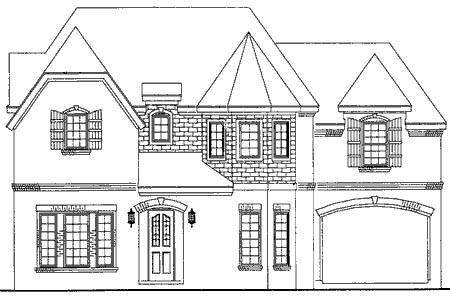 European House Plan 95742 with 4 Beds , 5 Baths , 2 Car Garage Elevation