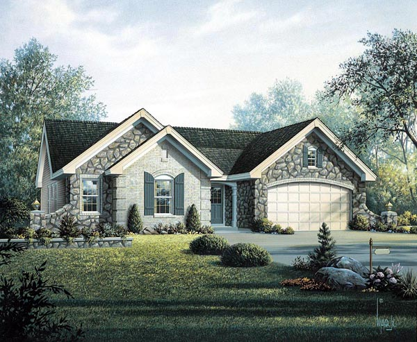 Cottage Country Craftsman Ranch House Plan 95800 Elevation