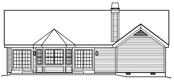 Country Traditional House Plan 95801 Rear Elevation