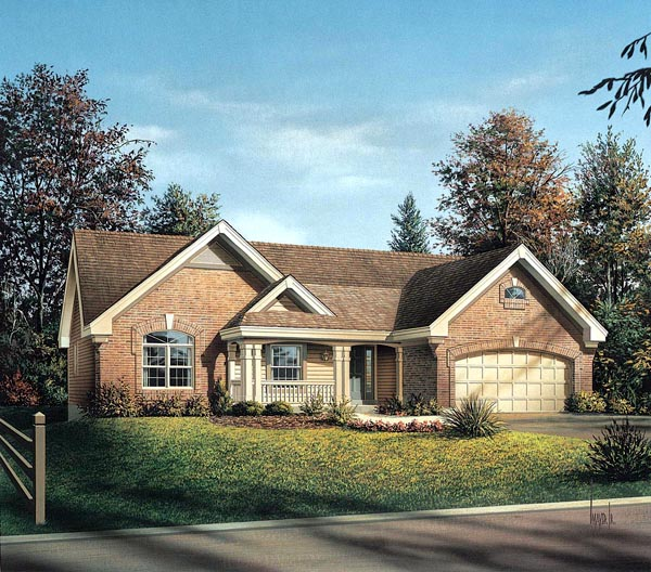 Craftsman Ranch Traditional House Plan 95802 Elevation