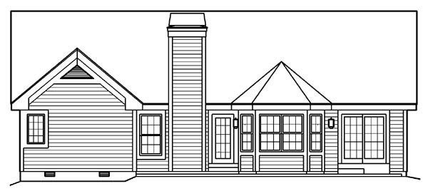 Craftsman Ranch Traditional House Plan 95802 Rear Elevation