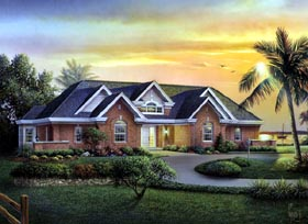 Ranch , Traditional House Plan 95805 with 3 Beds, 3 Baths, 3 Car Garage Elevation