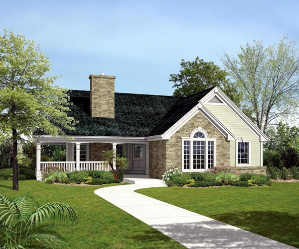 Country Ranch Traditional House Plan 95807 Elevation