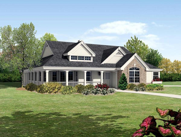 Bungalow Cabin Cottage Country Ranch Traditional House Plan 95810 Elevation