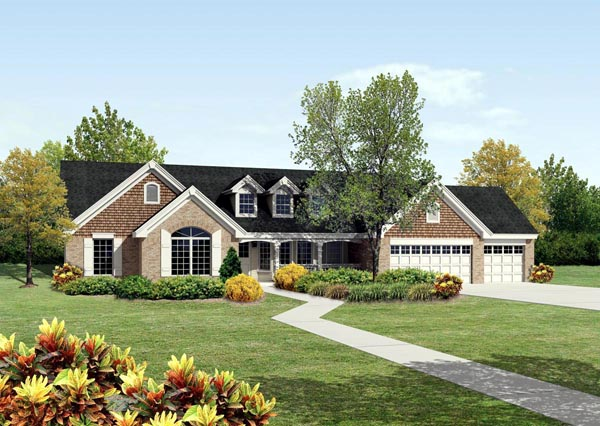 Cape Cod Country Ranch Traditional House Plan 95812 Elevation