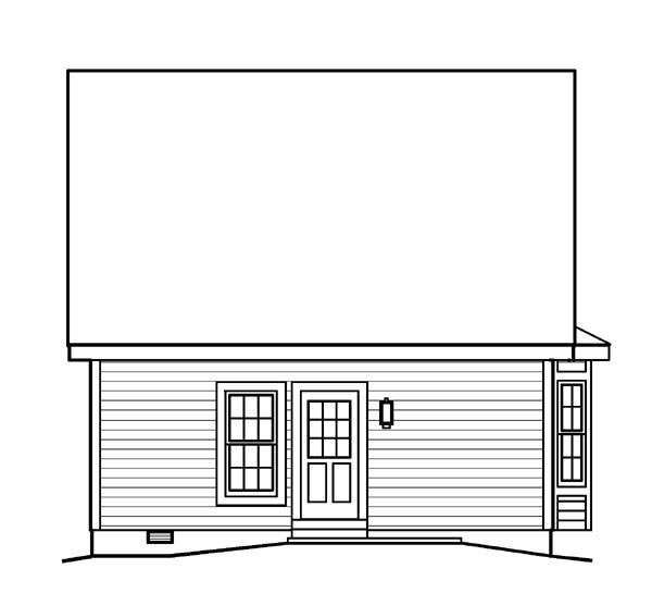 Contemporary Traditional Rear Elevation of Plan 95813