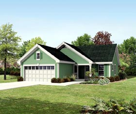 Ranch , Traditional House Plan 95819 with 3 Beds, 2 Baths, 2 Car Garage Elevation
