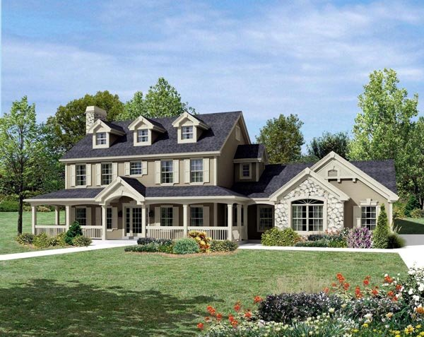 Cape Cod Colonial Country Farmhouse House Plan 95822 Elevation