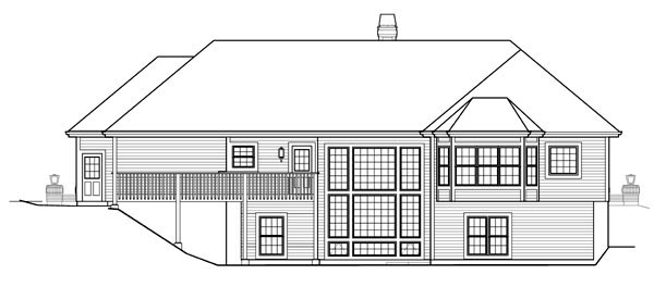 Country , Craftsman , Ranch , Traditional , Rear Elevation of Plan 95823