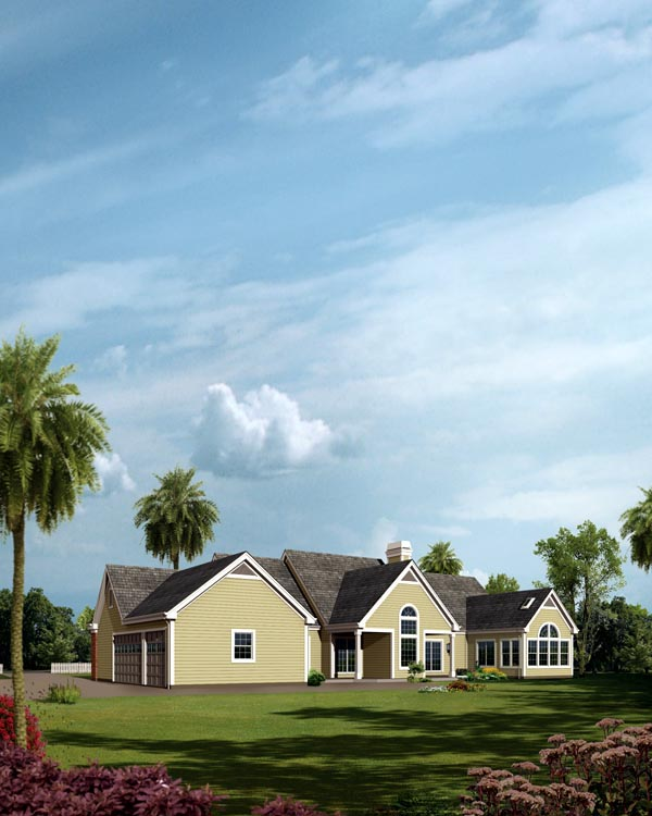 Country Ranch Traditional House Plan 95824 Rear Elevation