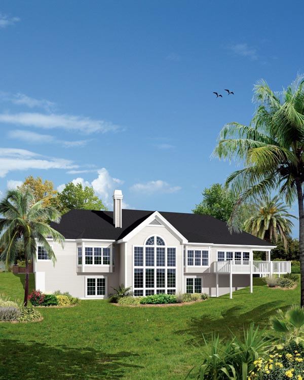 Ranch Traditional House Plan 95825 Rear Elevation
