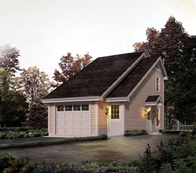 Country , Saltbox 1 Car Garage Apartment Plan 95826 with 1 Beds, 1 Baths Elevation