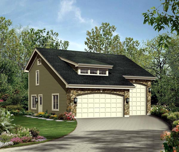 Cabin , Cottage , Country , Craftsman 3 Car Garage Apartment Plan 95827 with 1 Beds, 2 Baths, RV Storage Elevation