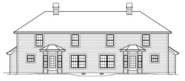 Country Southern Traditional Multi-Family Plan 95828 Rear Elevation