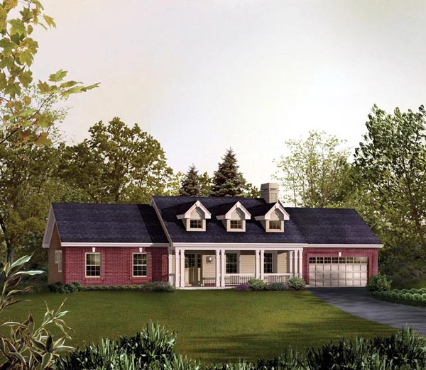 Cape Cod, Country, Ranch, Traditional House Plan 95830 with 3 Beds, 2 Baths, 2 Car Garage Front Elevation