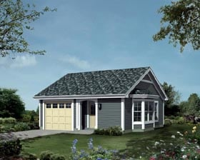 House Plan 95834 | Ranch Traditional Style Plan with 421 Sq Ft, 1 Bedrooms, 1 Bathrooms, 1 Car Garage Elevation