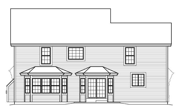 Country Traditional Rear Elevation of Plan 95835