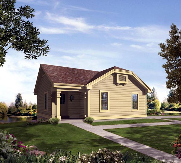 Cabin Contemporary Cottage Country Ranch House Plan 95836 Elevation