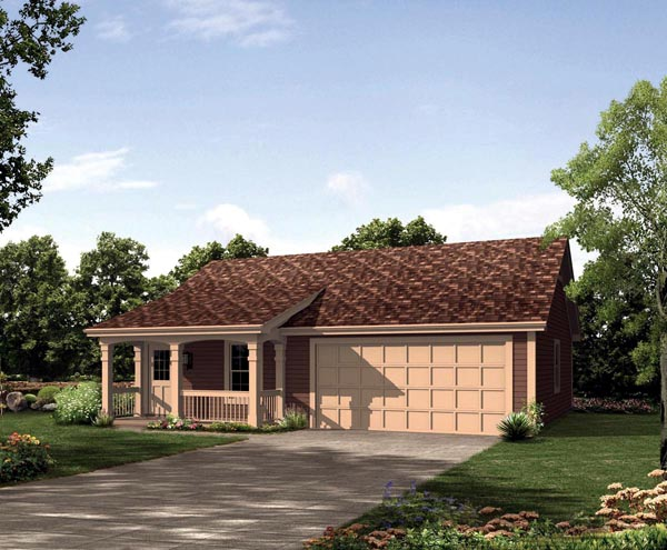 Cabin Cottage Country Ranch Traditional House Plan 95837 Elevation