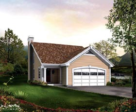 House Plan 95838 | Traditional Style Plan with 1137 Sq Ft, 2 Bedrooms, 2 Bathrooms, 2 Car Garage Elevation