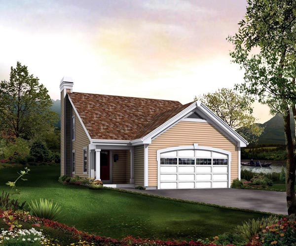 Traditional House Plan 95838 with 2 Beds, 2 Baths, 2 Car Garage Elevation