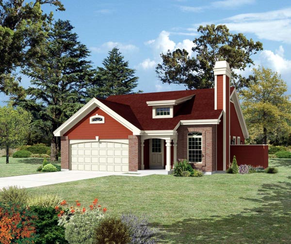House Plan 95839 | Country, Ranch, Traditional Style House Plan with 1153 Sq Ft, 3 Bed, 2 Bath, 2 Car Garage Elevation