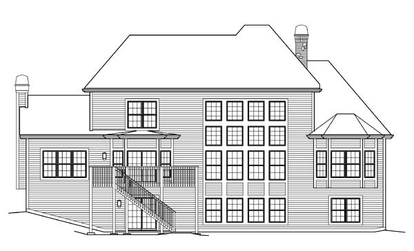 House Plan 95841 | Style Plan with 4409 Sq Ft, 4 Bedrooms, 4 Bathrooms, 3 Car Garage Rear Elevation