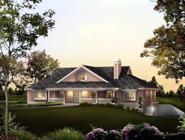 Country, Ranch House Plan 95842 with 3 Beds, 3 Baths, 2 Car Garage Front Elevation