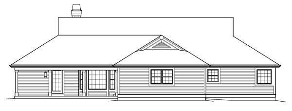 Country, Ranch House Plan 95842 with 3 Beds, 3 Baths, 2 Car Garage Rear Elevation