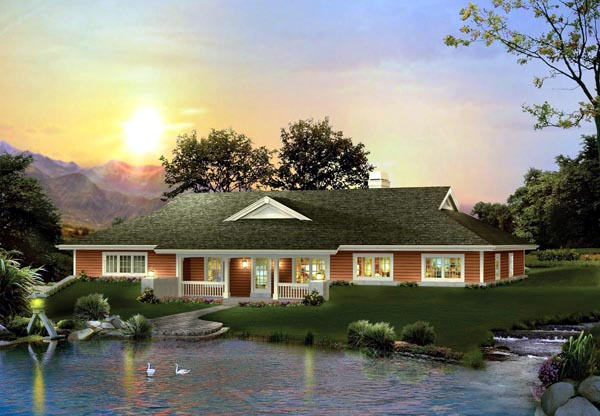 Country Ranch House Plan 95844 Elevation