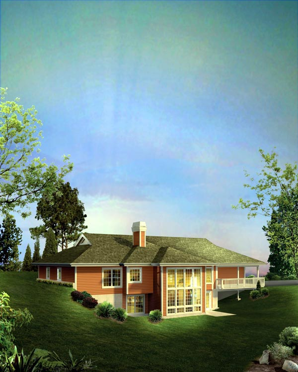 House Plan 95844 | Country Ranch Style Plan with 2163 Sq Ft, 3 Bedrooms, 2 Bathrooms, 3 Car Garage Rear Elevation
