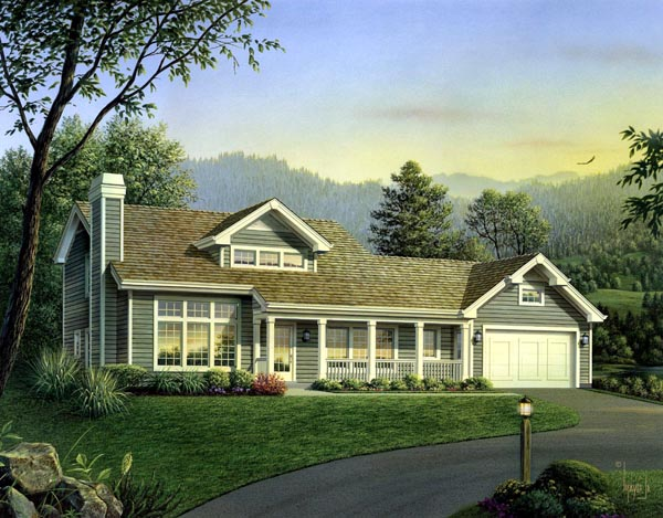 Contemporary , Country House Plan 95847 with 4 Beds, 4 Baths, 2 Car Garage Elevation