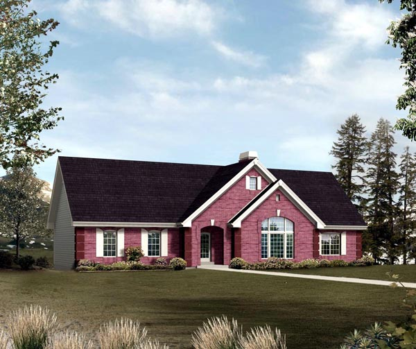 Ranch , Traditional House Plan 95851 with 3 Beds, 2 Baths, 3 Car Garage Elevation