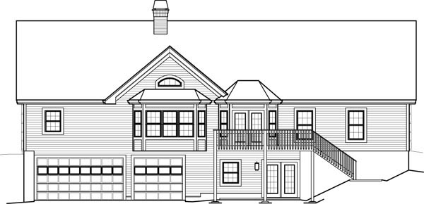 Ranch , Traditional House Plan 95851 with 3 Beds, 2 Baths, 3 Car Garage Rear Elevation