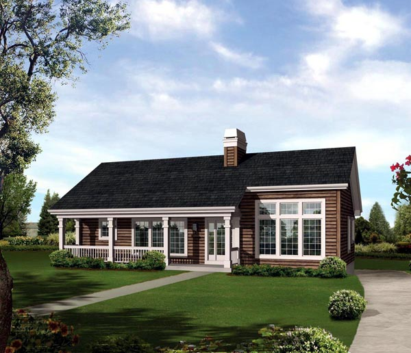 Contemporary Country Ranch House Plan 95852 Elevation