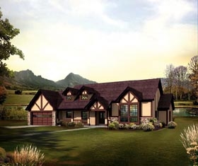 European Ranch Traditional Tudor House Plan 95853 Elevation