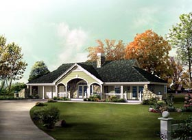 Country Ranch Traditional House Plan 95854 Elevation