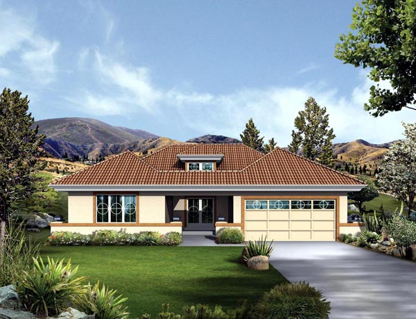 Contemporary Florida Ranch Southwest House Plan 95859 Elevation